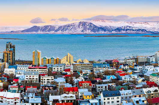 View over the rooftops of Reykjavik in winter