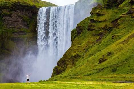 You can walk right up to Skógafoss