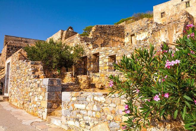 Crete - Island of Spinalonga ruins close up