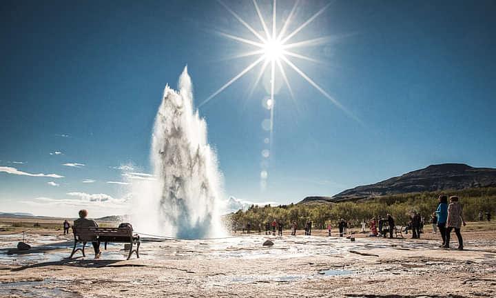 Geothermal eruption at Geysir Geothermal area