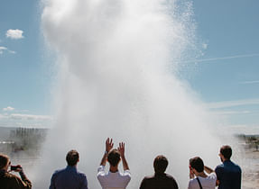 Erupting geyser in Iceland