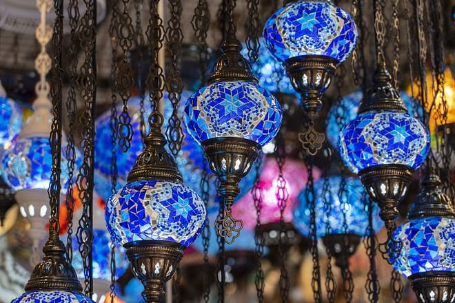 Colorful turkish glass lamps for sale at the street market in Bodrum, Turkey.