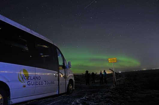 We use minibuses in our Northern lights tours in Iceland.