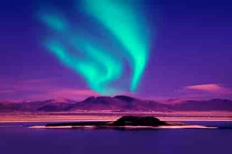 northern lights in Iceland over lake aurora borealis