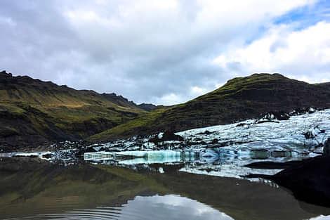 The solheim glacier and the glacier lagoon