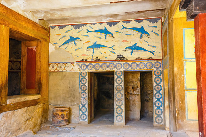Frescoes depicting dolphins in Knossos, Crete, Greece