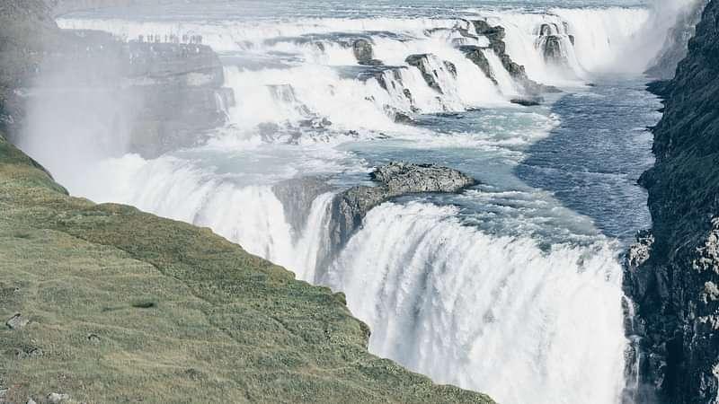 Gullfoss waterfall dropping into it's canyon