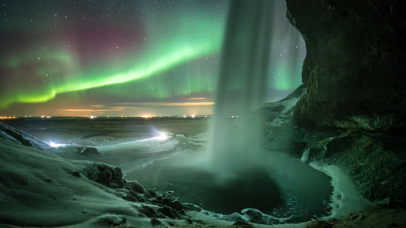Waterfall with Northern Lights