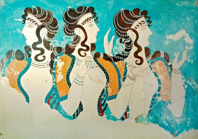 Colorful Frescoes in Knossos, Crete, Greece
