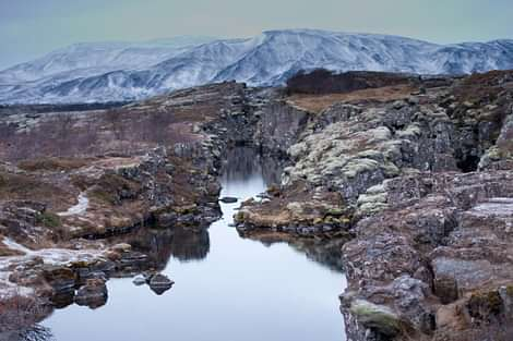 Thingvellir valley with water
