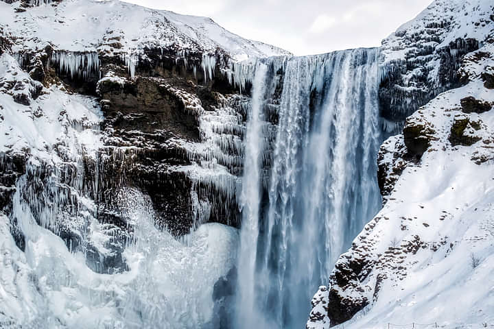 Skogafoss Waterfall with Ice and Snow