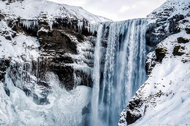Skogafoss waterfall close up