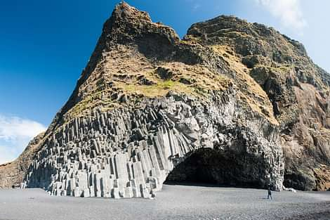 There is a basalt column cave on Reynisfjara