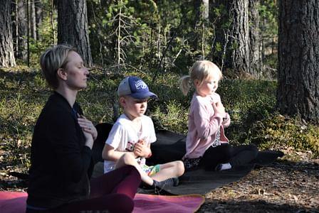 Wanhan Vartiamäen tupa Tarinallista metsäjoogaa lapsiperheille Leivonmäen kansallispuistossa Joutsa