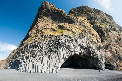 Reynisfjara Columni Basalts on South Shore of Iceland, Black sand Beach