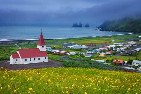 Vík í Mýrdal on South Coast of Iceland