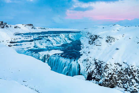 Gullfoss in Winter with snow and ice