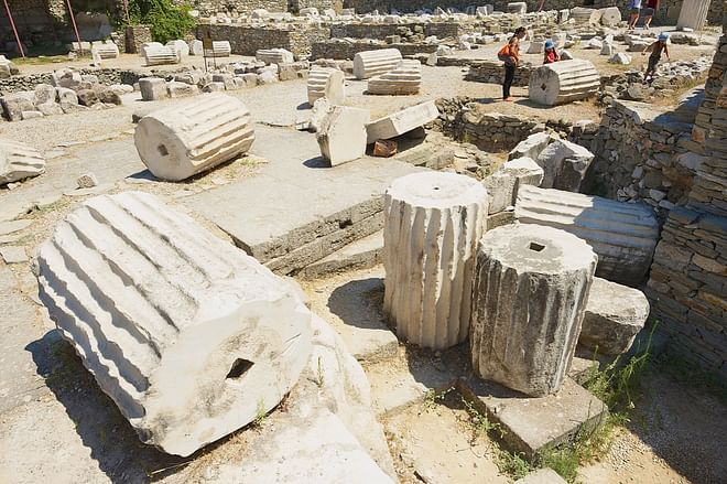 Ruins of the Mausoleum of Mausolus, one of the Seven wonders of the ancient world in Bodrum, Turkey.