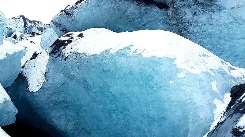 Beautiful blue ice at Sólheimajökull glacier