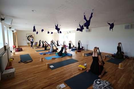 Yoga Group session in Akureyri Iceland