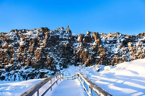 Thingvellir Northamerican Tectonic Plate Winter