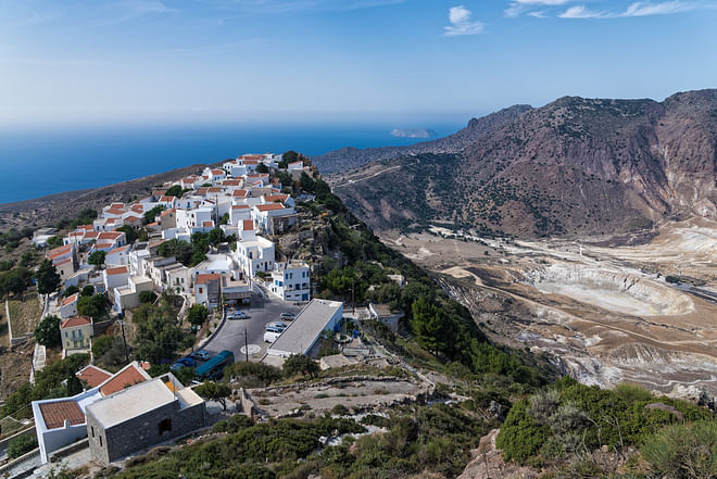 Panoramic photo of the active volcano and the village of Nikia in Nisyros island, Greece