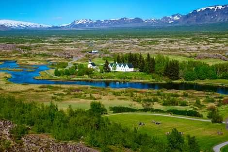 Þingvellir in Iceland in Summer Time