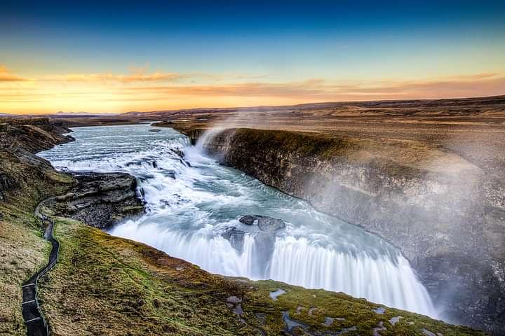 Gullfoss waterfall seen from upper level