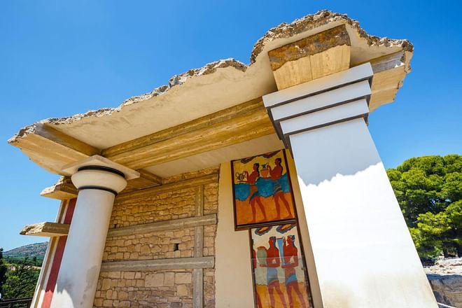 Frescoes in Cnossos ruins, Crete, Greece
