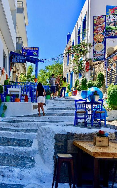 Bunte Straße in Kos-Insel, Griechenland