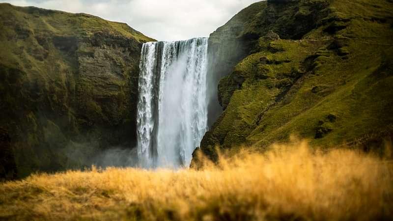Beautiful Skógarfoss waterfall on South Coast Iceland
