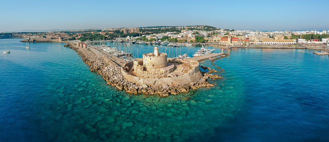 Panoramic view of Mandraki Harbor, Rhodes, Greece