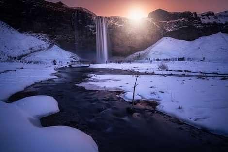 Evening sun at seljalandsfoss waterfall