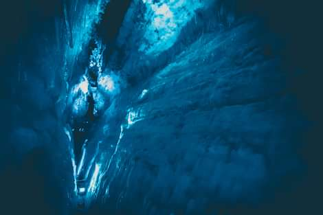 Into The Glacier in Langjökull Deep Blue Ice Crevasse